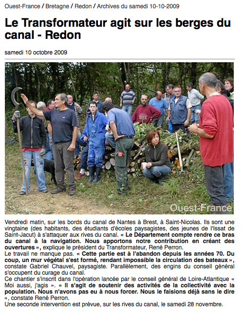 Article Ouest-France 10/10/2009